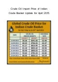 Crude oil import price of indian crude basket for april 2015