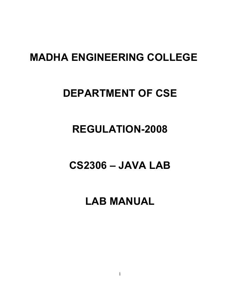 CS2309 JAVA LAB MANUAL
