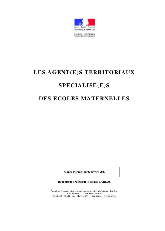 Rapport Sur Les Atsem Conseil Superieur De La Fonction Publique Terr