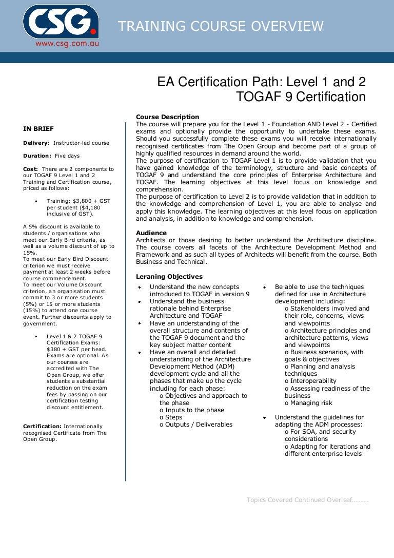 Csg togaf 9 certification course outline xflitez Gallery