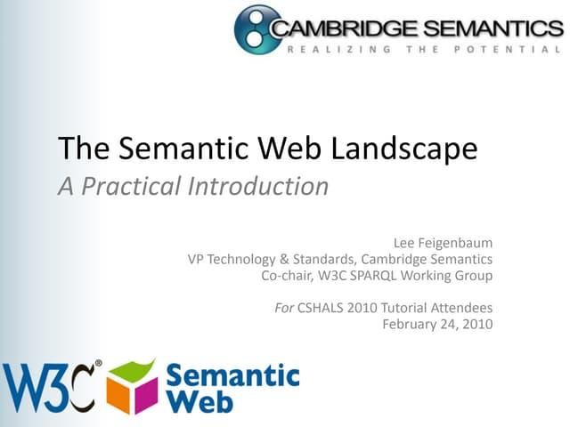 CSHALS 2010 W3C Semanic Web Tutorial