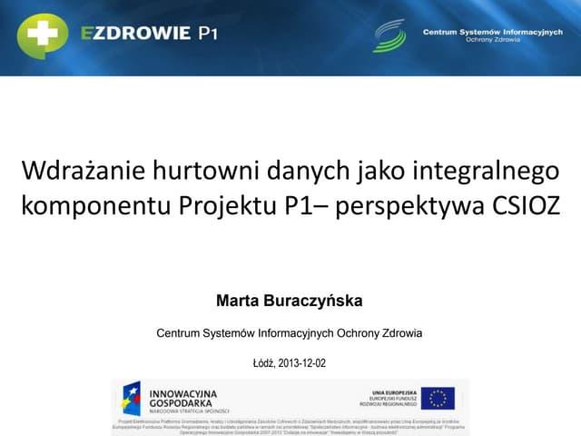 Wdrażanie hurtowni danych jako integralnego komponentu Projektu P1 - perspektywa CSIOZ