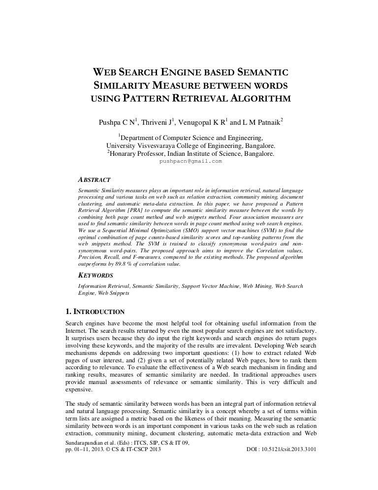 WEB SEARCH ENGINE BASED SEMANTIC SIMILARITY MEASURE BETWEEN WORDS USI…