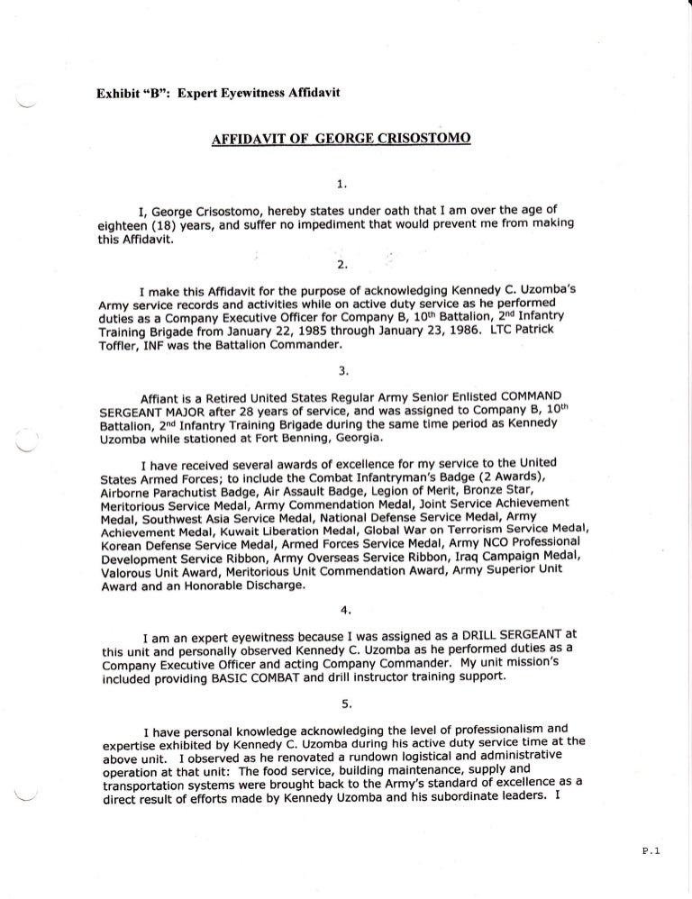 Affidavit  Command Sergeant Major George Crisostomo US Regular Arm