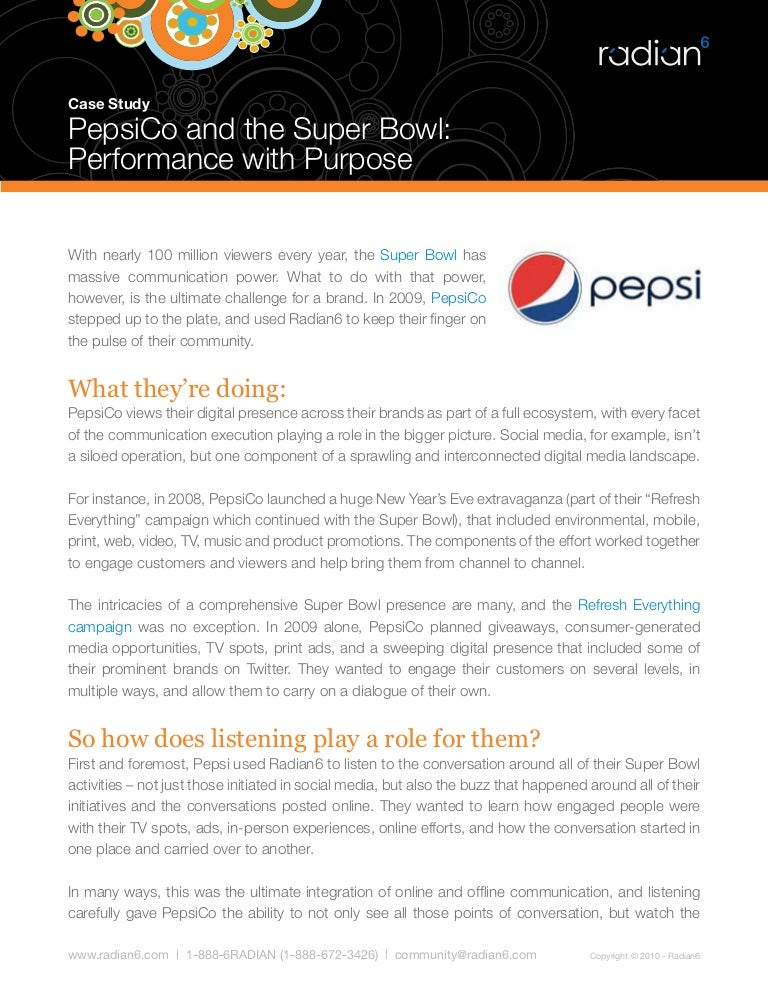 pepsi case essay Pepsico case study  this is a preview content a premier membership is required to view the full essay  and finished goods under such brands as pepsi.