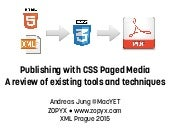 CSS Paged Media - A review of tools and techniques