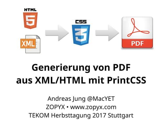 Generierung von PDF aus XML/HTML mit PrintCSS