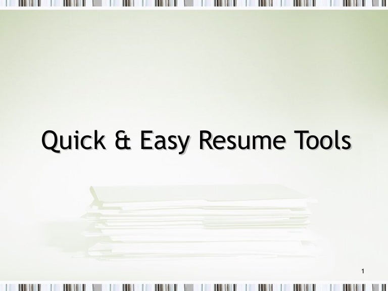 quick resume tips