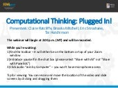 Computational Thinking: Plugged In! (Day 2)
