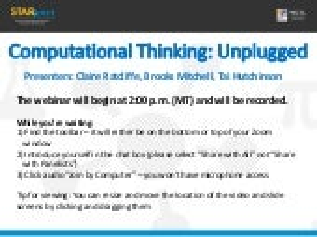 Computational Thinking: Unplugged (Day 1)