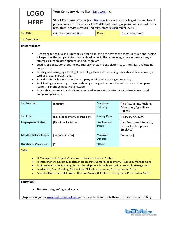 Chief Technology Officer Job Description Template by Bayt – Cto Job Description