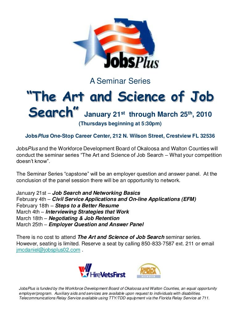The Art And Science Of Job Search Free Seminar Series Relay Basic Question