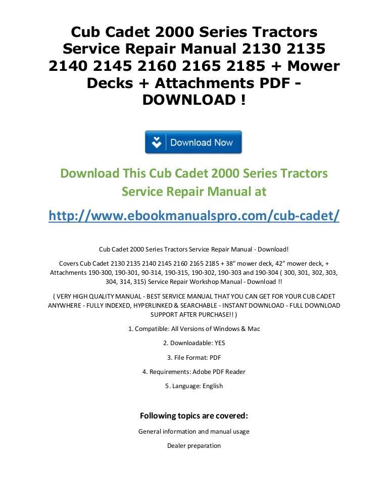 cub cadet 2000 series tractors service repair manual 2130 2135 2140 2 rh slideshare net cub cadet 2186 service manual Cub Cadet Model 2185