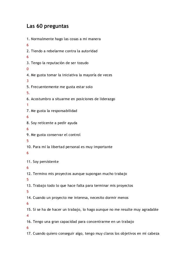 Cuestionario 60 Preguntas