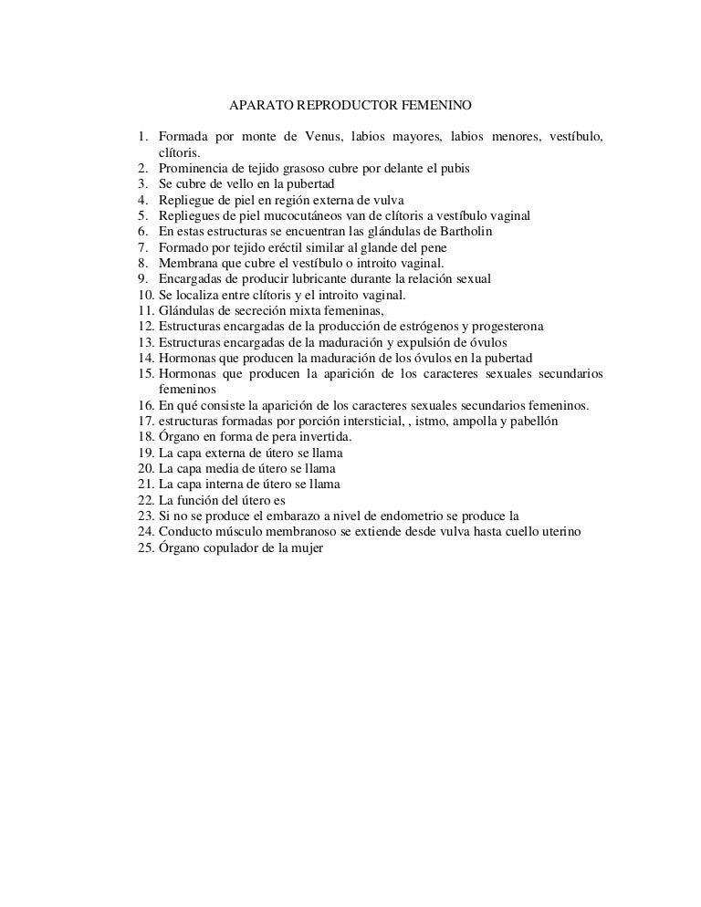Cuestionario aparato reproductor femenino
