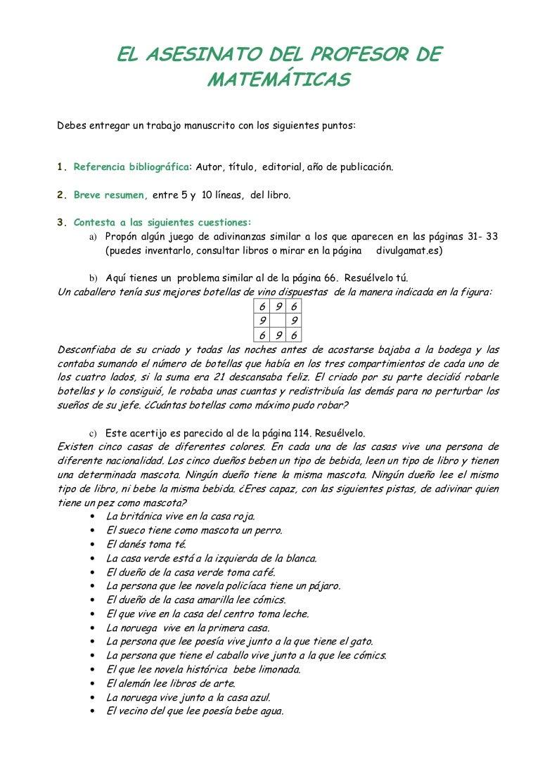 Cuestionario del asesinato del profesor de matemáticas