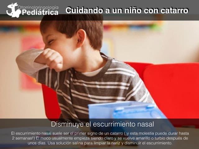Cuidando a un niño con catarro
