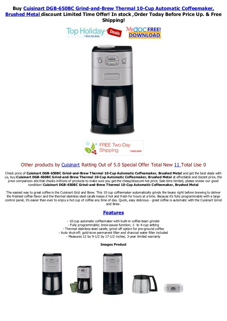 Black Cuisinart Dgb-650bc Grind /& Brew Thermal 10-cup Automatic Coffeemaker