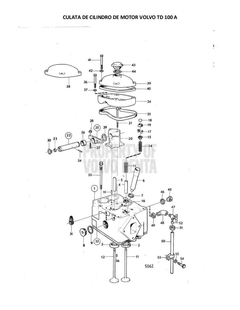 Culata de cilindro de motor volvo td 100 a