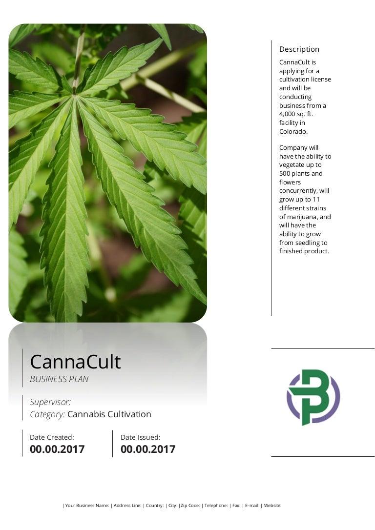 Business Plan Sample For A Cannabis Cultivation Business Start Up Medical marijuana business plan template