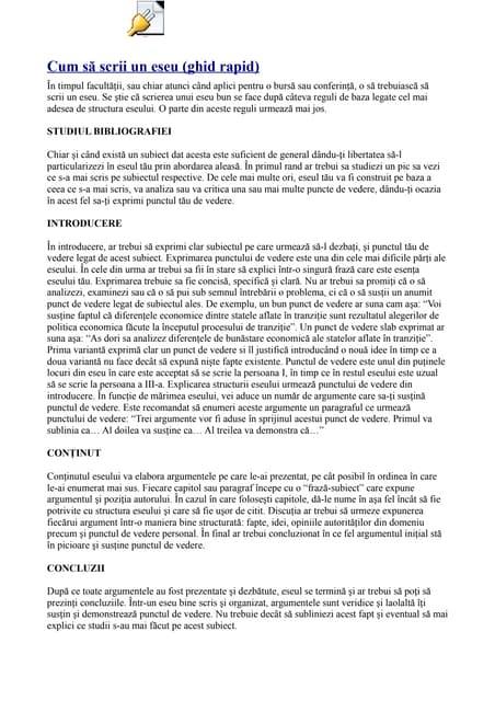 Regulile de scriere a unui eseu