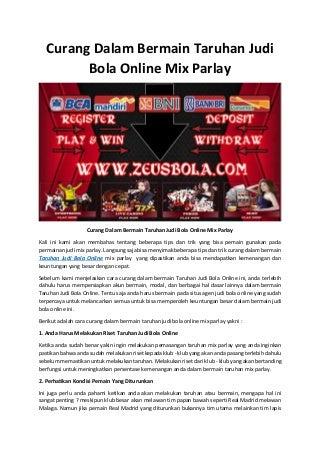 Curang dalam bermain taruhan judi bola online mix parlay
