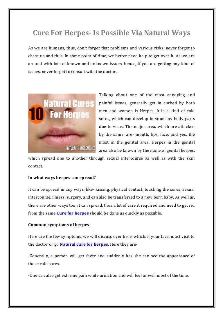 Of natural rid to herpes get ways How to