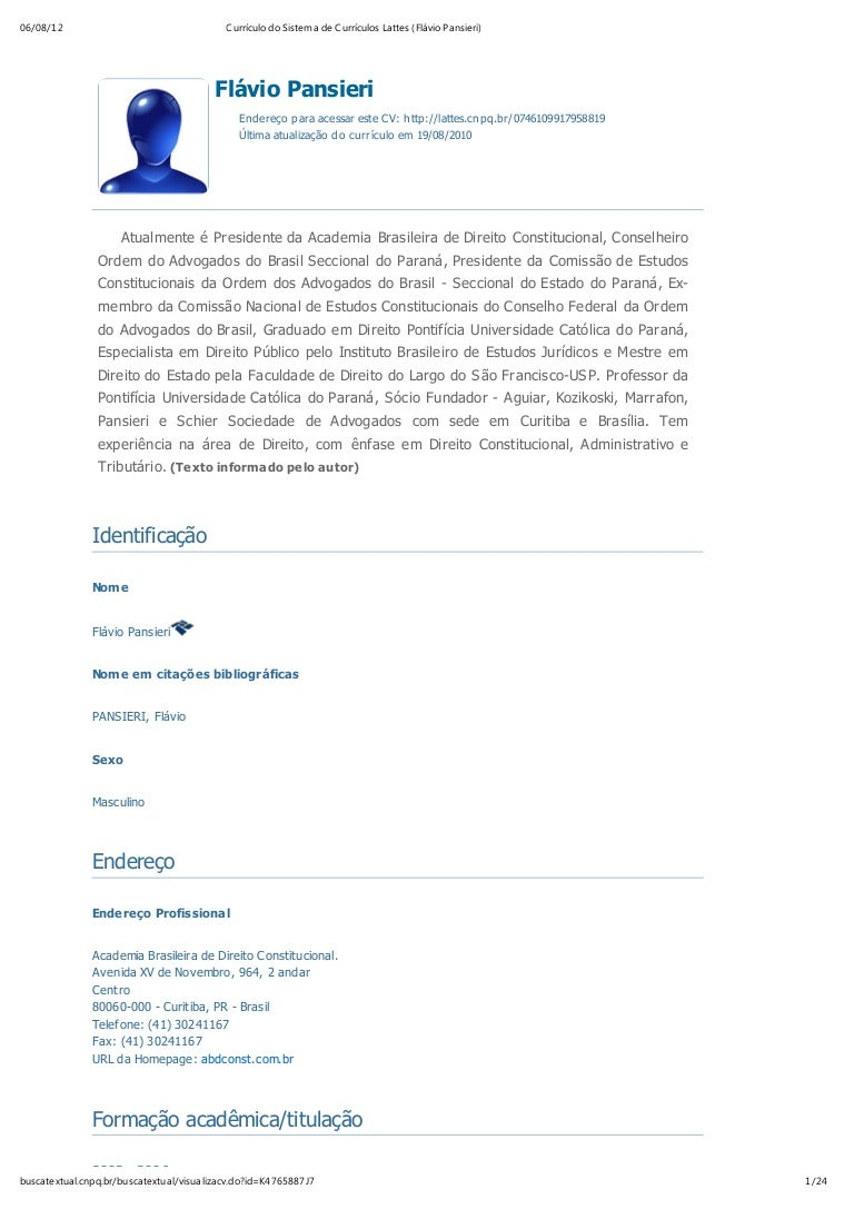 Currículo do sistema de currículos lattes (flávio pansieri) 8e6791898c94c