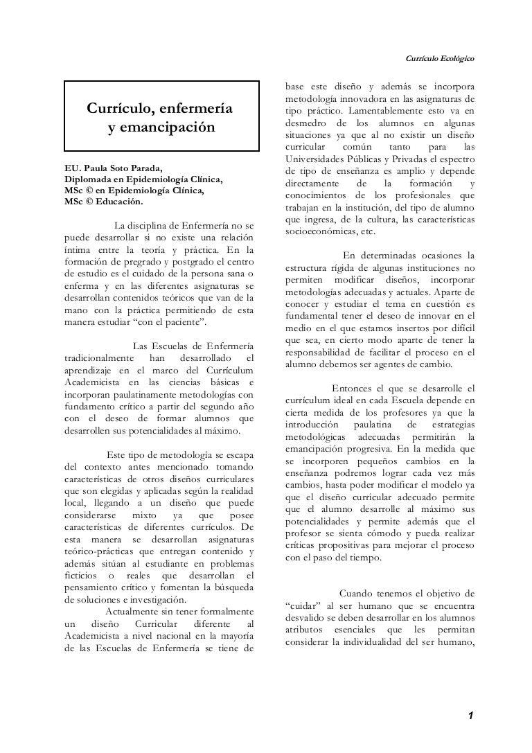 Currículo, enfermería y emancipación