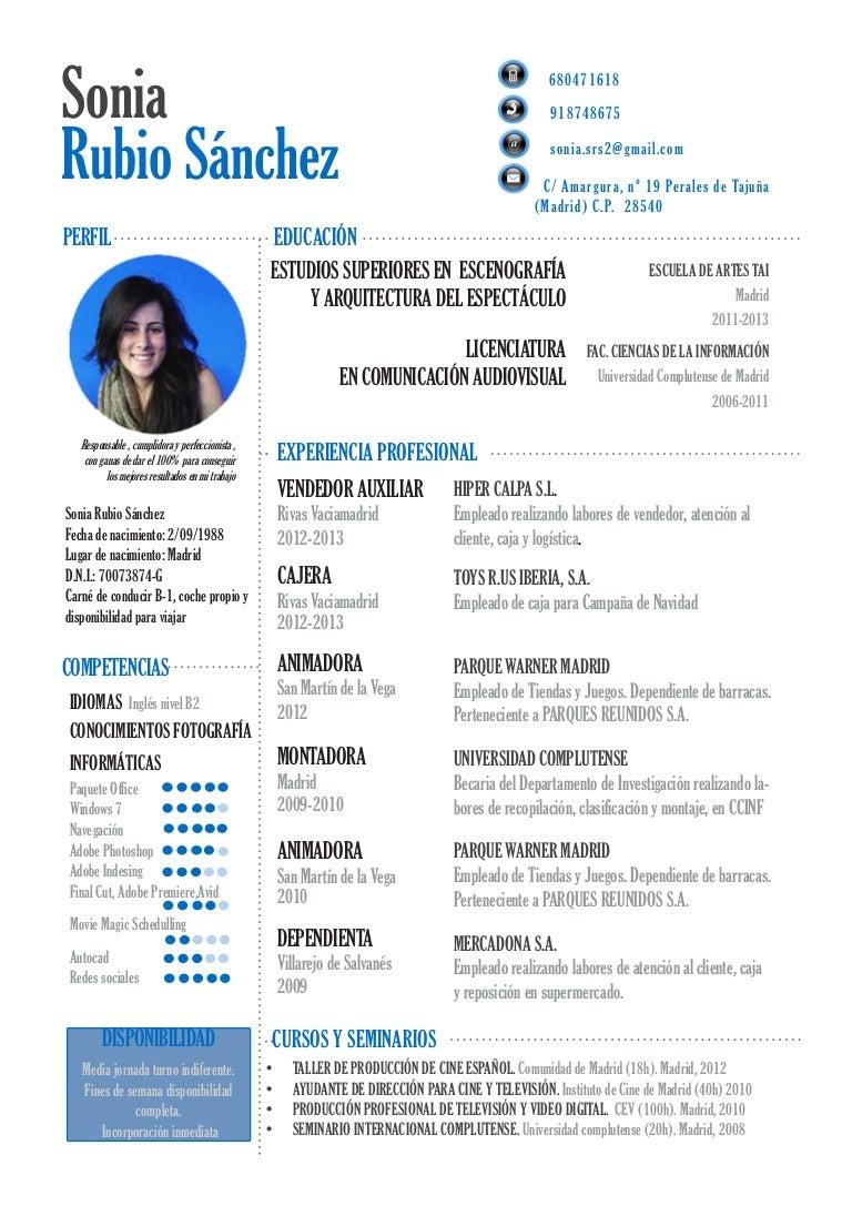 Currículum Sonia Rubio Sánchez