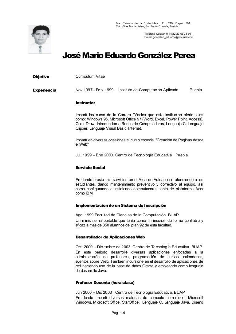Currículum Jose Mario Eduardo Gonzalez Perea