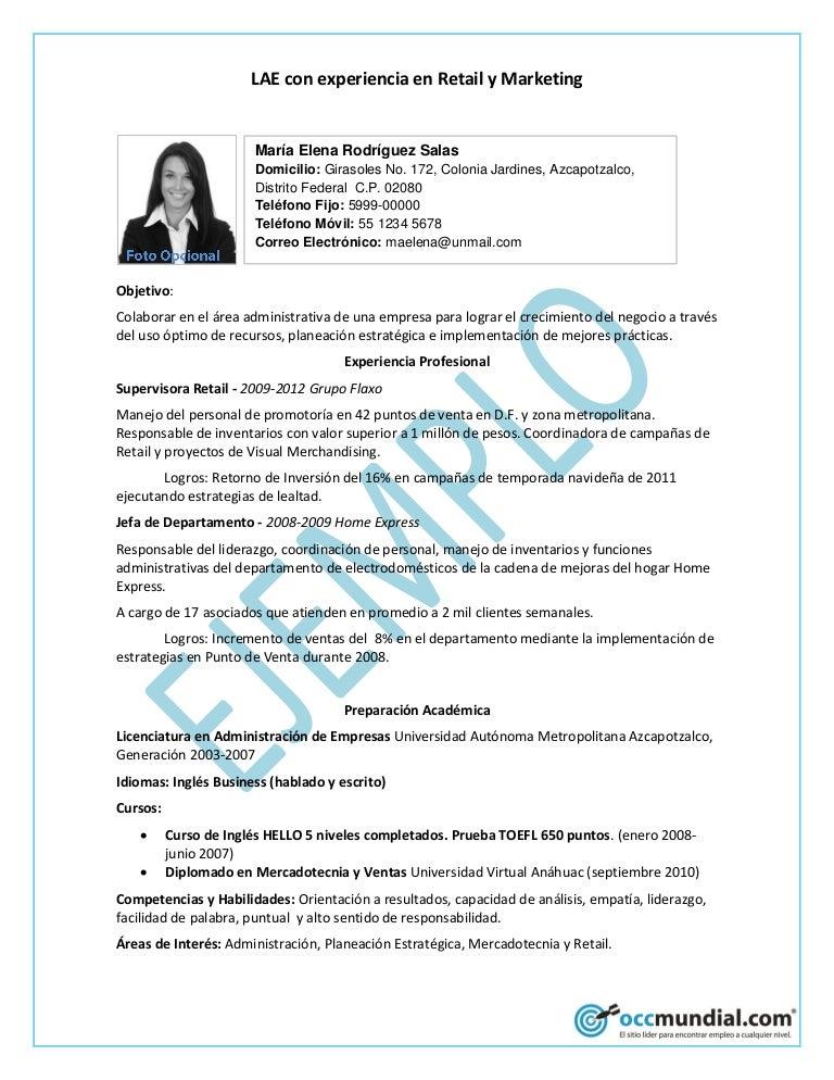 Currículum ejemplo - occ mundial