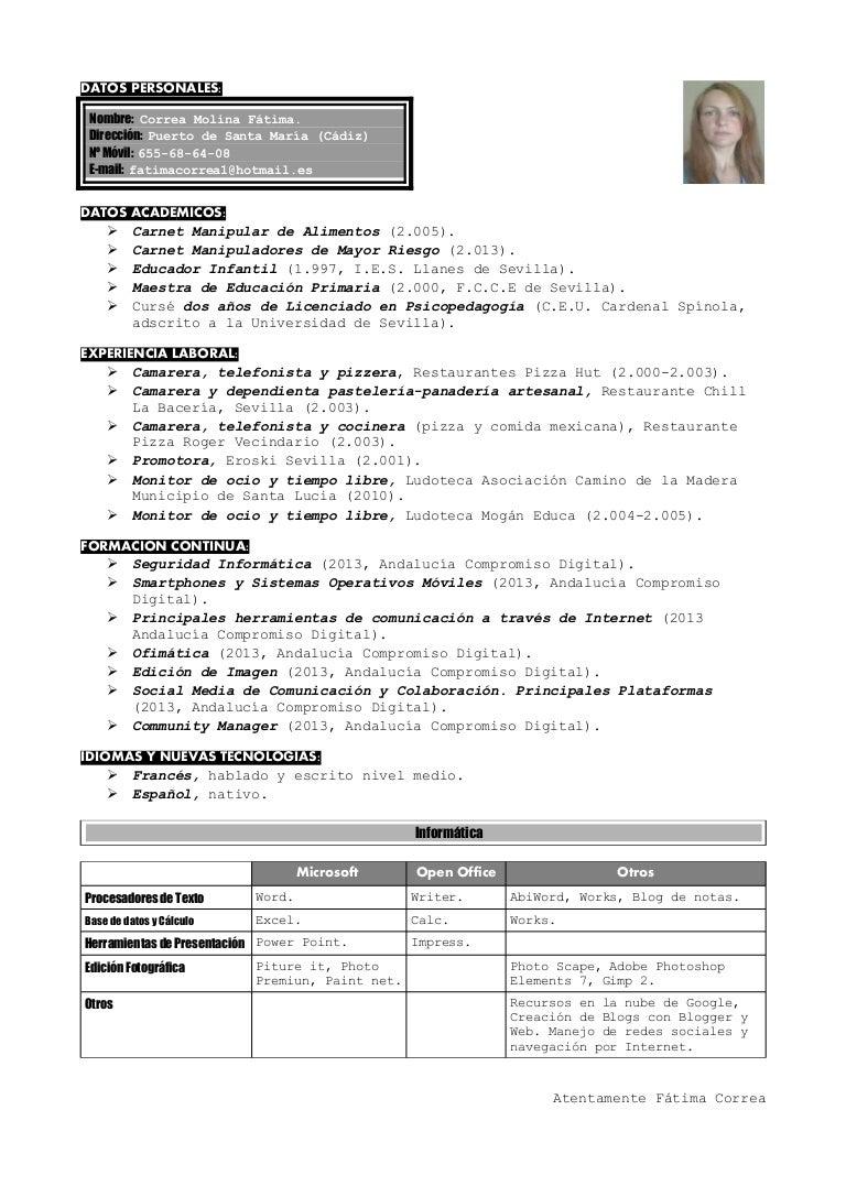 Currículum áreas restauración, comercio e informática