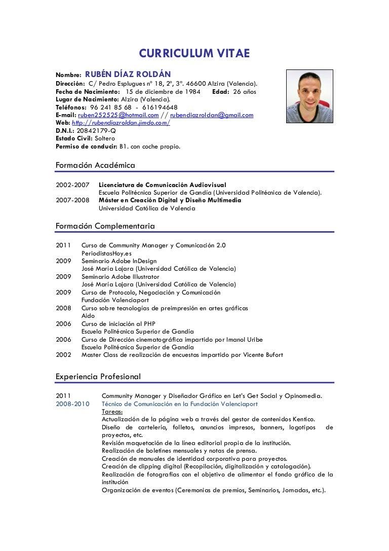 Currículum vitae Rubén Díaz