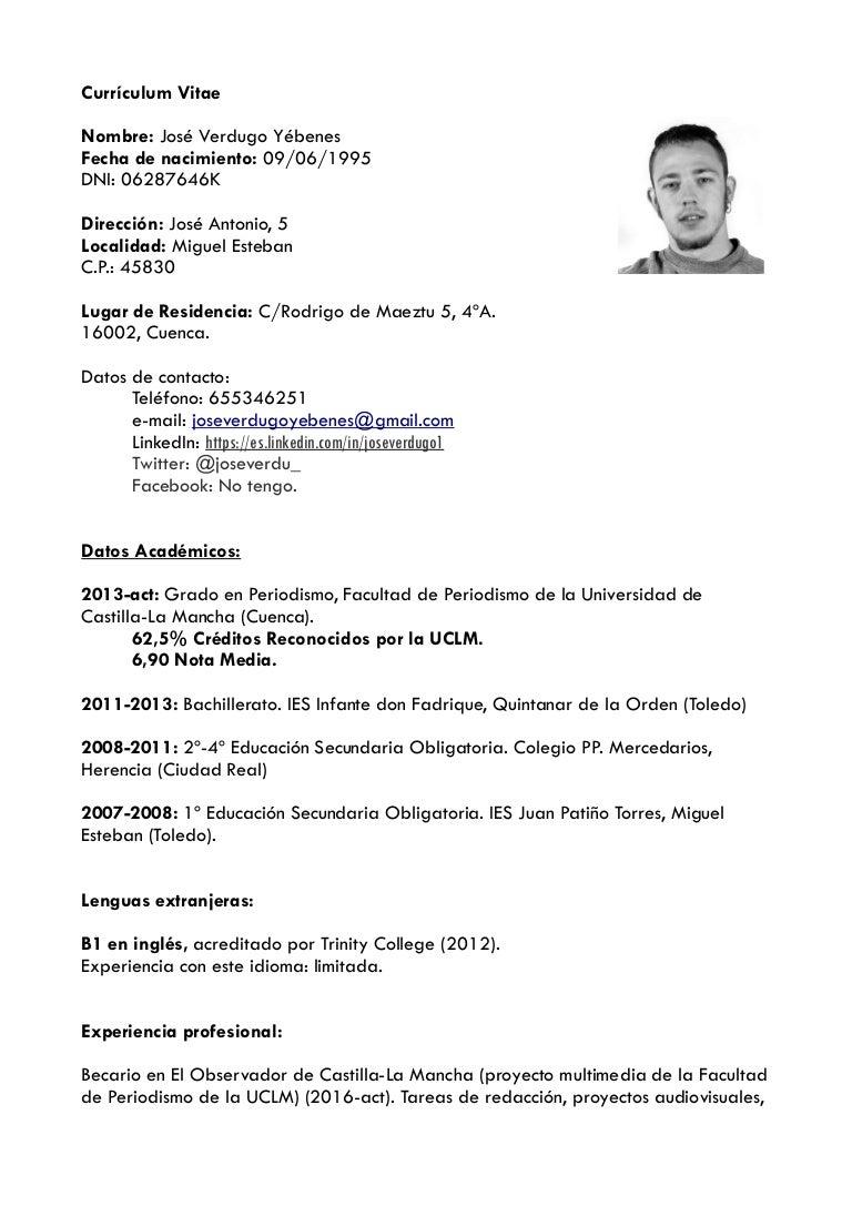 Currículum vitae prácticas 2016