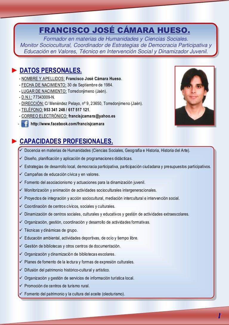 Currículum vítae Francisco José Cámara Hueso