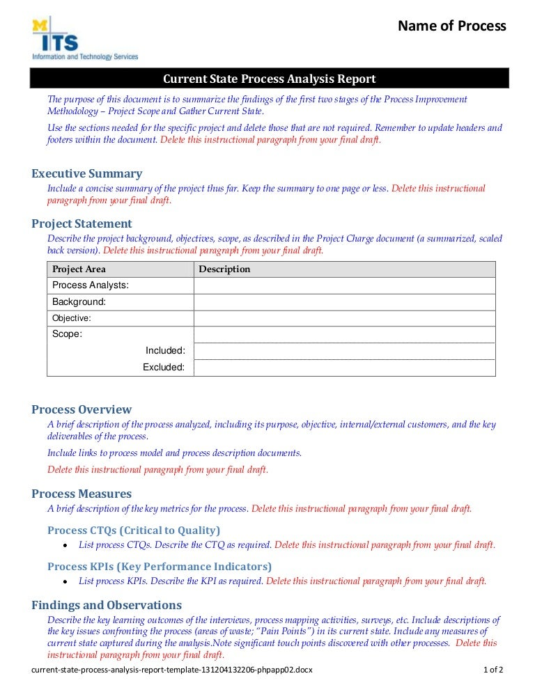 learner analysis template - process analysis report