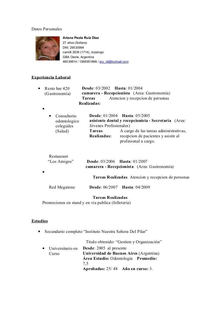 Asombroso Ejemplos De Currículum De Recepcionista Festooning ...