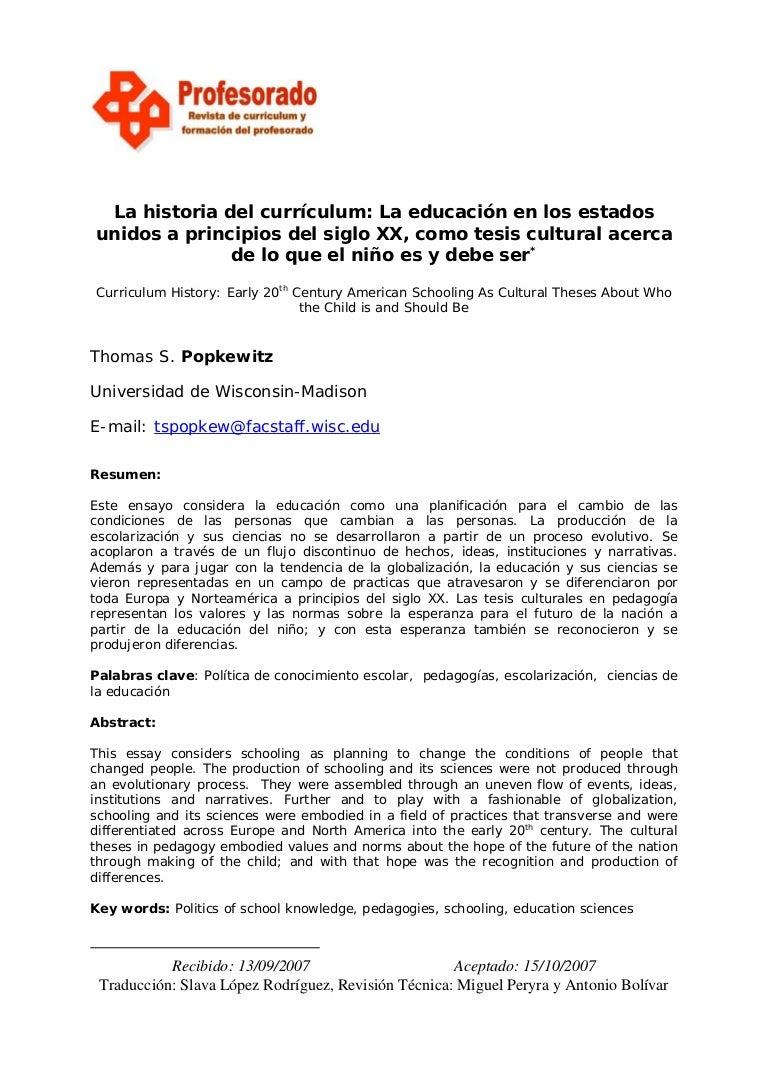 HISTORIA DEL CURRICULUM EN LOS ESTADOS UNIDOS