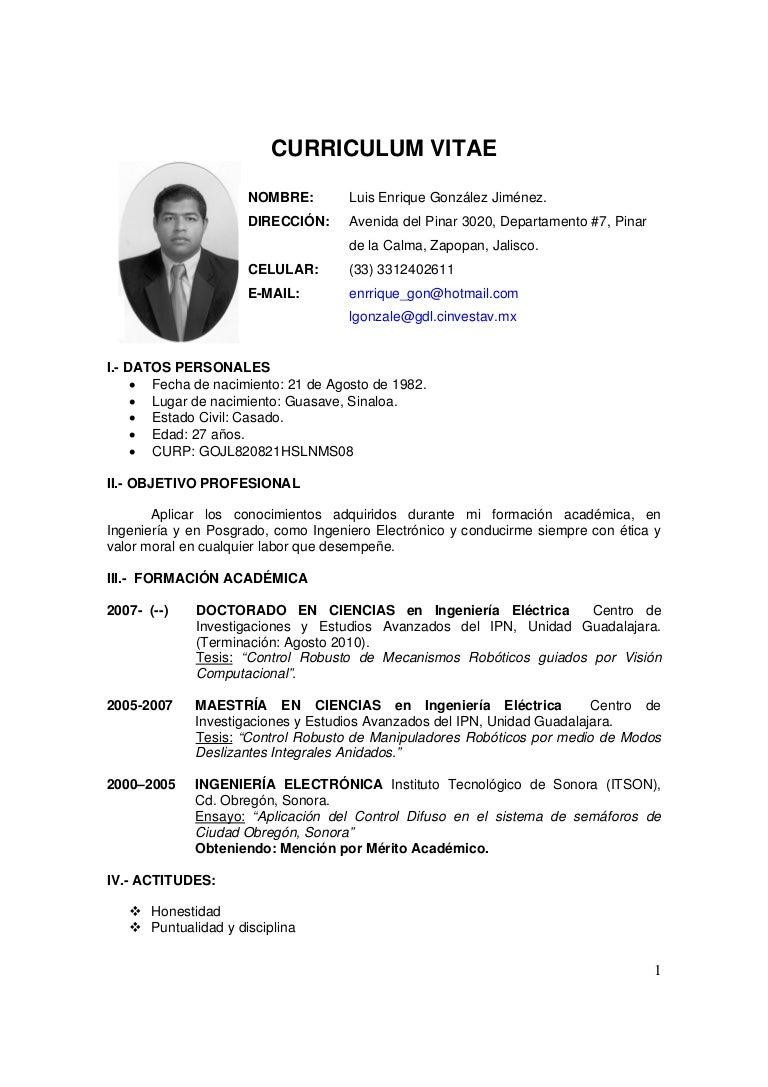 Curriculumvitae Ejemplos Mexico | www.imagenesmy.com