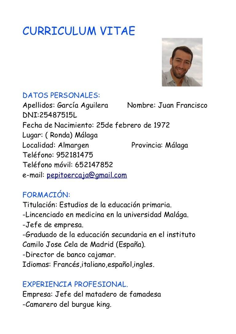 Encantador Jefe De Camarero Curriculum Vitae Foto - Ejemplo De ...