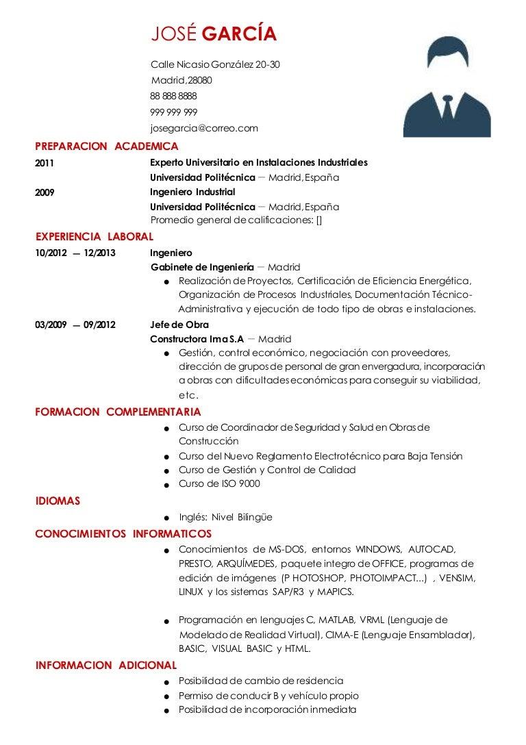Curriculum ingeniero-industrial