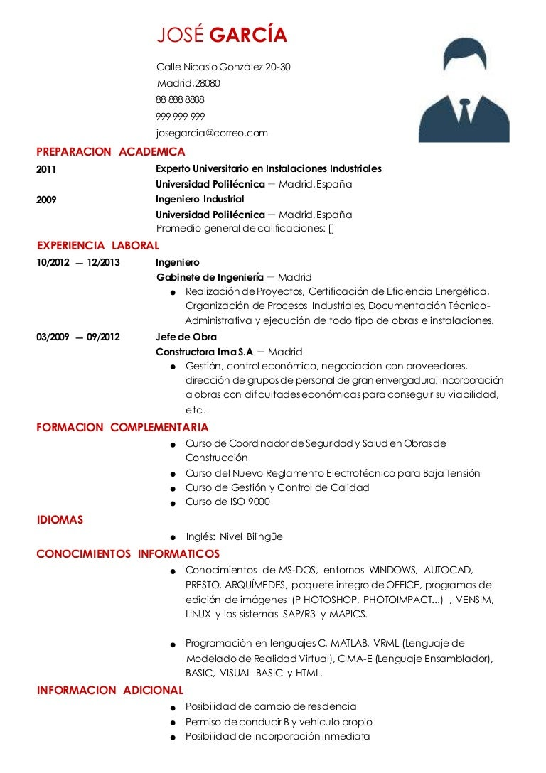 Curriculum ingeniero-industrial