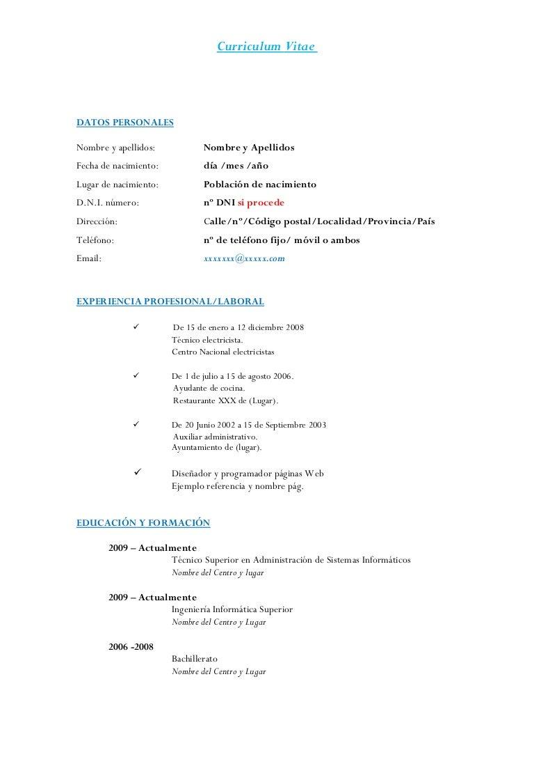 Encantador Formato De Curriculum De Trabajo De Electricista ...