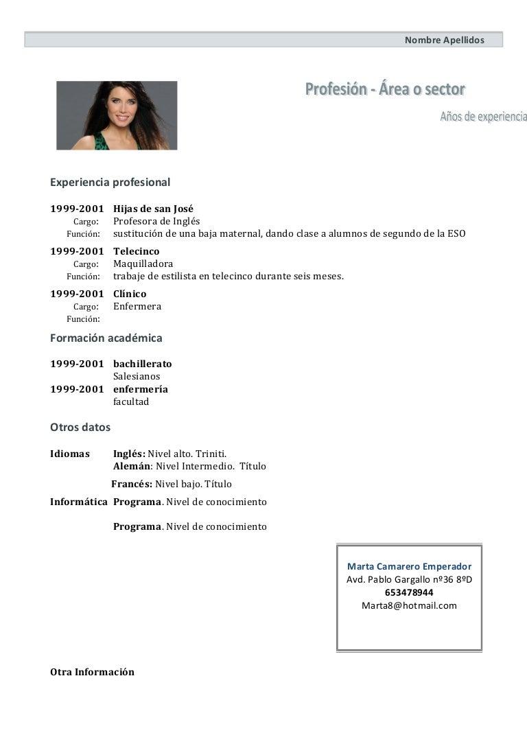 Contemporáneo Ejemplos De Curriculum Personal Estilista Modelo ...