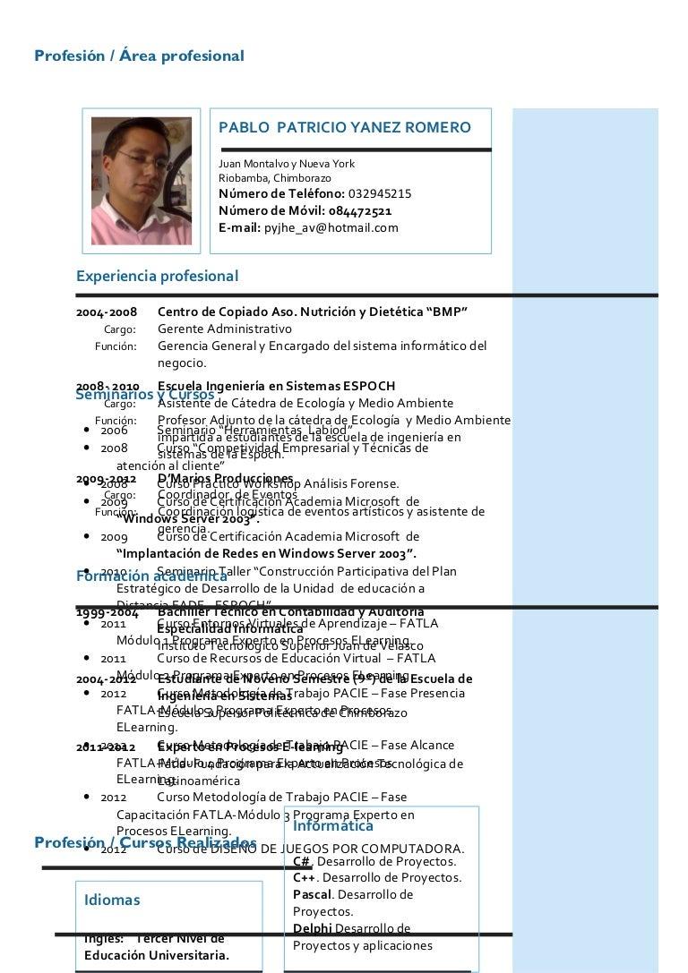 Curriculum vitae-pablo yanez