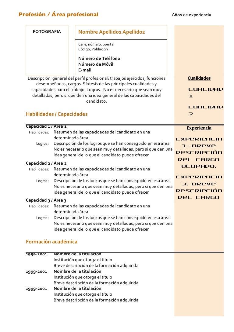 Curriculum Vitae - Modelo Combinado