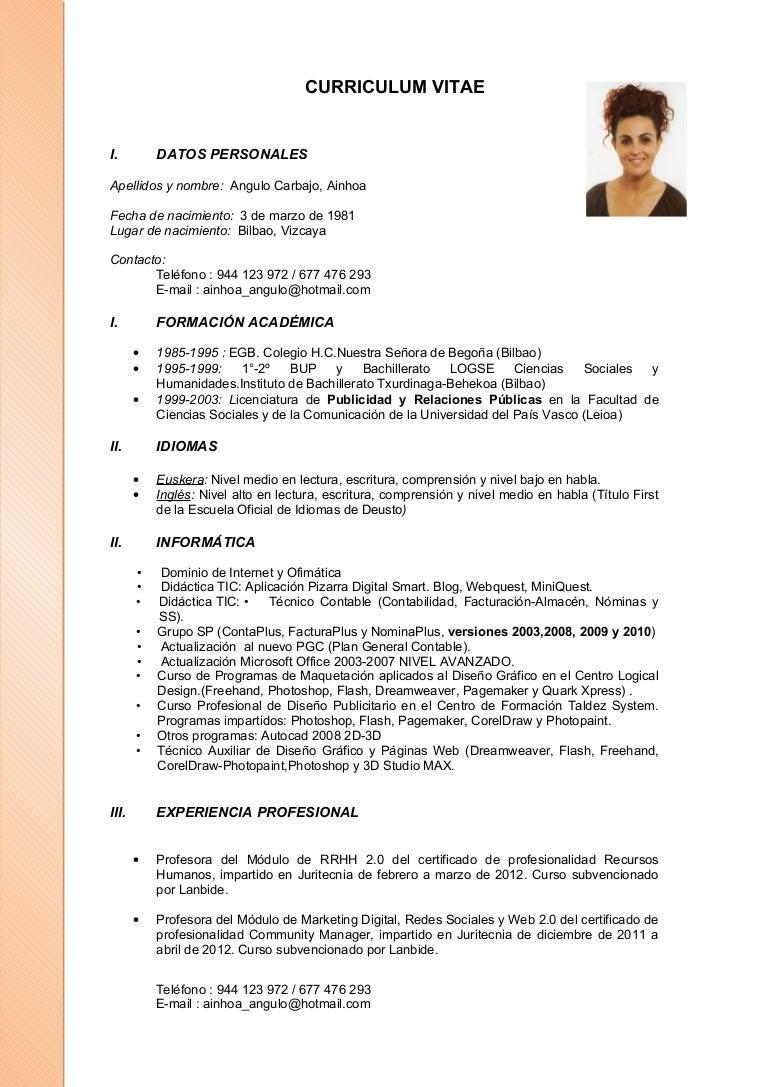 Curriculum Ainhoa Actualizado A 30 01 2012