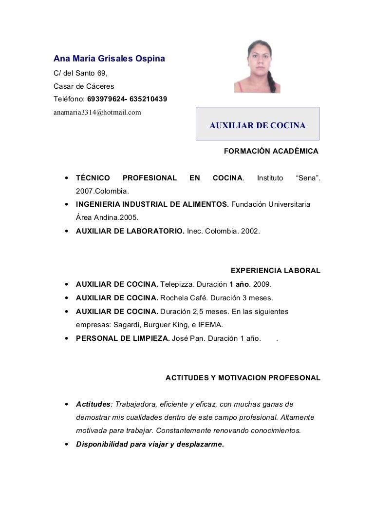 Curriculum ana mª . cocina