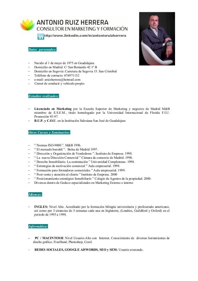 Curriculum antonio ruiz herrera ocubre 2014